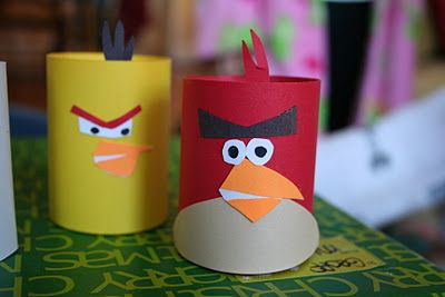 Toilet Paper Roll Craft for kids: Homemade Angry Birds!