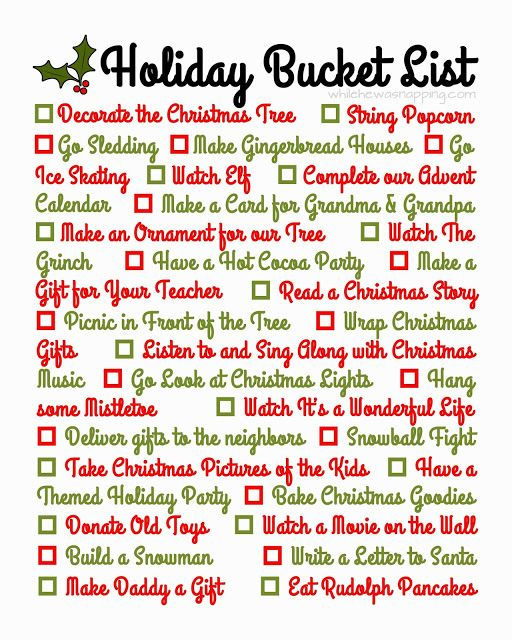 While He Was Napping: {Printable} Holiday Bucket List