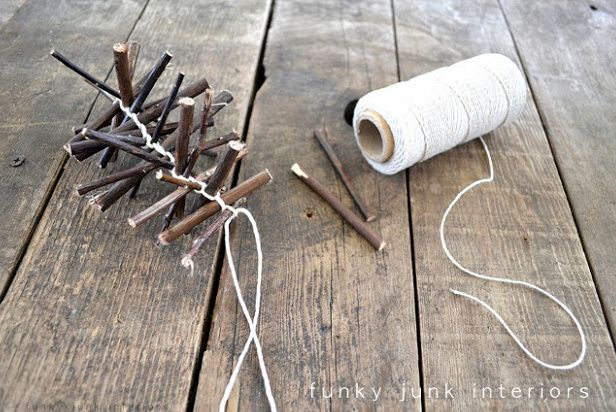 How to make a twig garland with video, via http://www.funkyjunkinteriors.net/