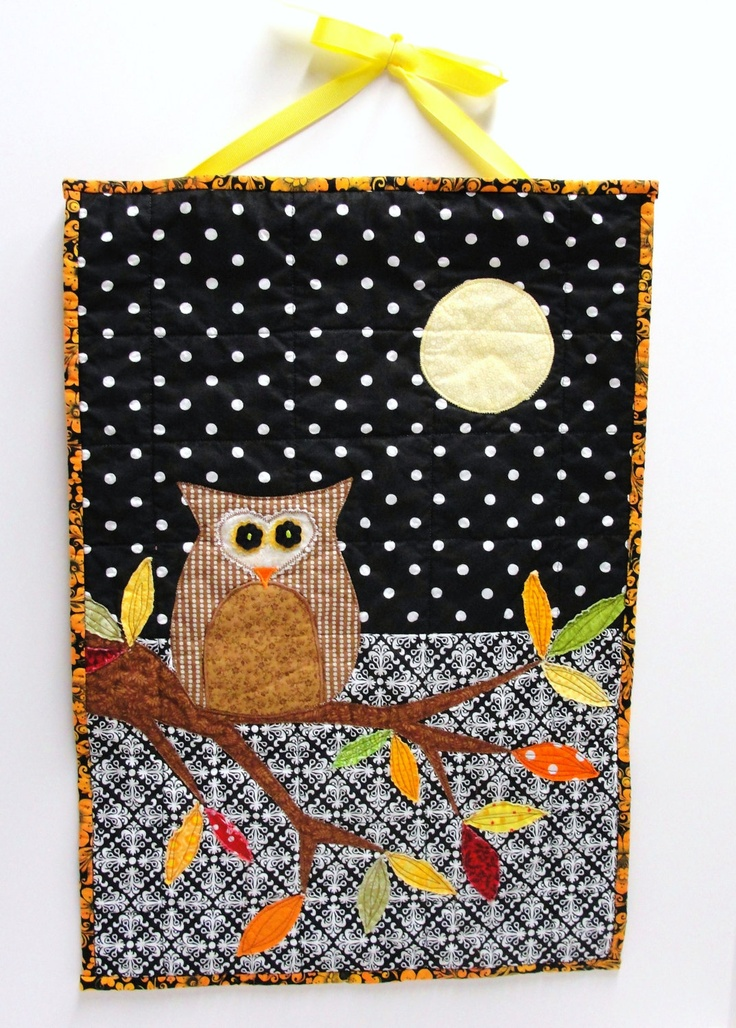Halloween owl quilt- wall quilt in black with autumn leaves $52.00, via Etsy.