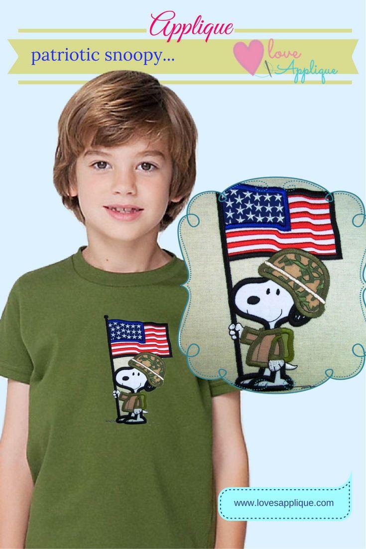 4th of July Snoopy Applique. Patriotic Applique. Snoopy and Peanuts, Snoopy Patriotic. Snoopy Party Ideas. Snoopy Outfits, www.lovesapplique.com