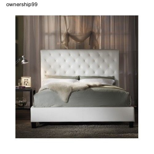 White Queen Bed Bonded Leather Headboard Frame Size Tufted Bedroom Furniture New #TribeccaHome