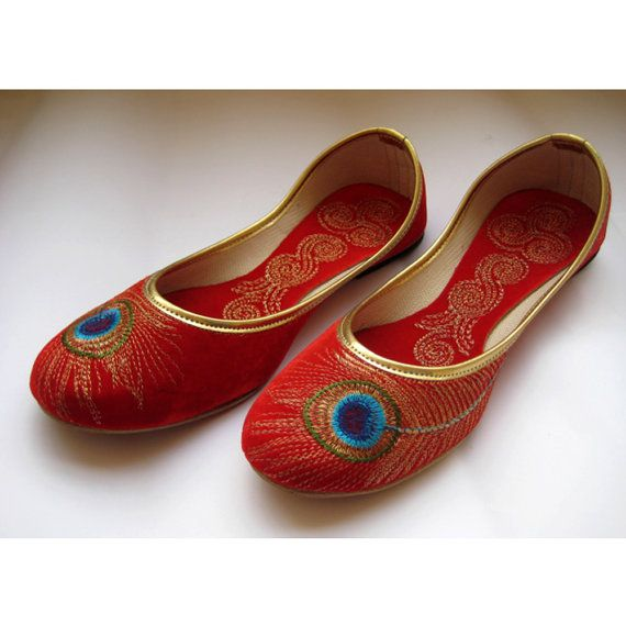 Red Shoes/Gold Shoes/Red Flats/Ethnic Shoes/Velvet Shoes/Handmade Indian Designer Women Shoes/Maharaja Style Women Jooties on Etsy, $32.10