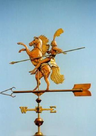 Knight on Steed Weathervane by West Coast Weather Vanes.  This unique, handcrafted custom made Knight weathervane was made using a combination of copper and brass.