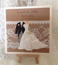 Luxury handmade  personalised Vintage/ Lace Bride And Groom WEDDING DAY CARD
