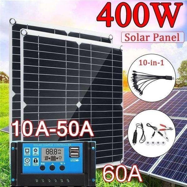 Peak Power 400w Solar Panel Single Panel 50w With 10 60a 12v 24v Controller Pwm Solar Panel Charging Controller For Rv Marin In 2020 Solar Charging Solar Panels Solar