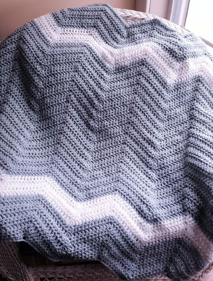 new chevron zig zag ripple baby toddler blanket afghan wrap crochet knit wheelchair stripes VANNA WHITE yarn silver blue boys girls by JDCrochetCreations on Etsy