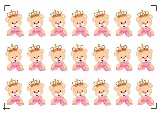 Folha De Tags Ursinha Princesa Busto 5cm Com Imagens Ursinha