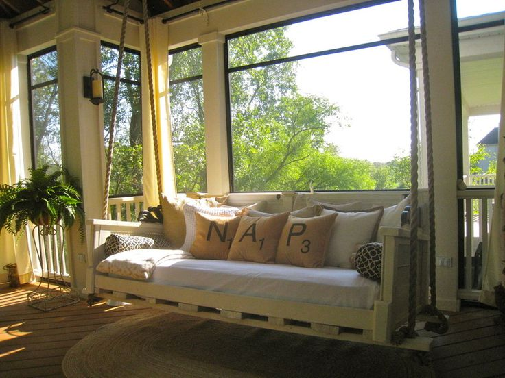 Eclectic Porch by Your Favorite Room By Cathy Zaeske - swinging bench for a nap or bed for sleeping
