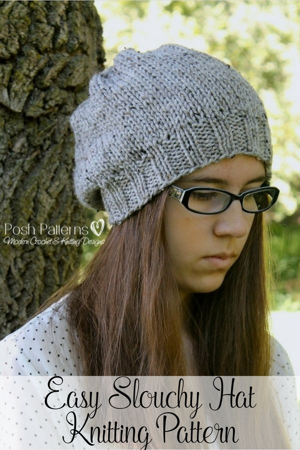 Easy Knit Hat Patterns For Kids : 45 best Slouchy Hat Patterns images on Pinterest Crochet ...