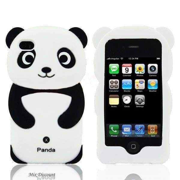 coque en silicone panda 3d pour iphone 4 4g 4s id es. Black Bedroom Furniture Sets. Home Design Ideas