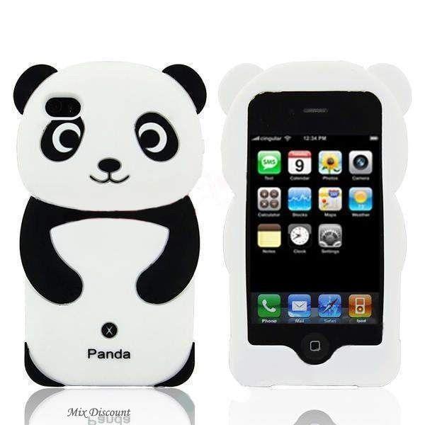 Coque en silicone Panda 3D pour iPhone 4 / 4G / 4S