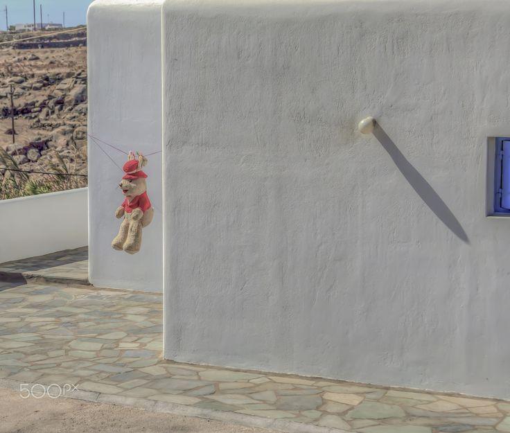 Wet Teddy Bear - Teddy Bear Drying in the  Sun  in Mykonos Greece..