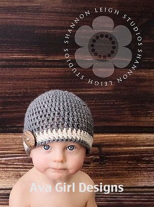 Crochet baby hat charcoal grey or barley brown by AvaGirlDesigns