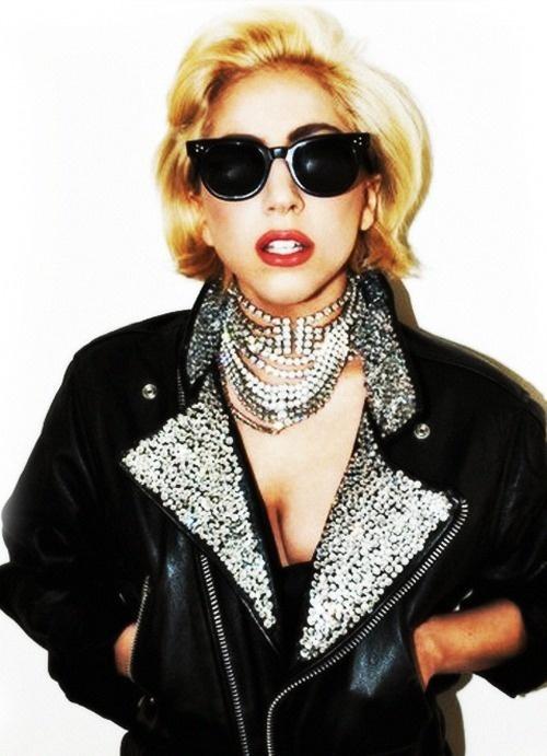 Lady Gaga black shades + black leather biker jacket