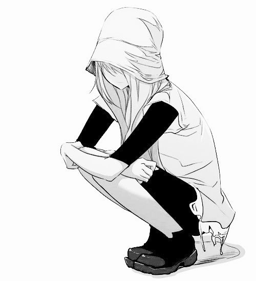 anime girl, hood, black and white, art, drawing