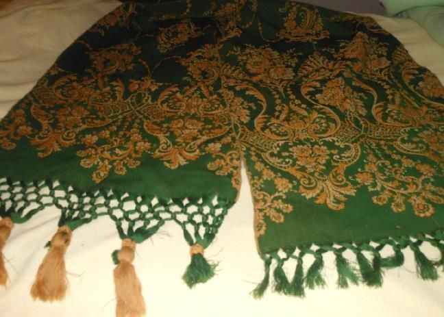 "Antique Green & Gold Tapestry Portiere Doorway Curtain w/Fringe 46""x104"" French?"