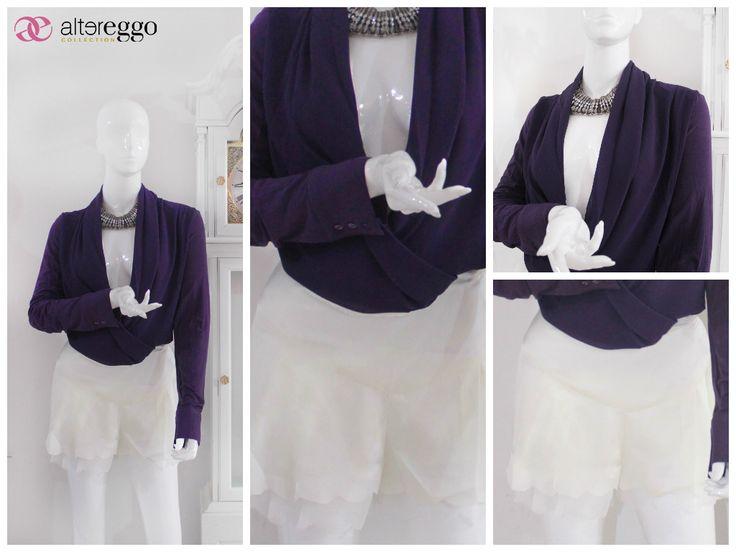 #moda #fashion #otoño #invierno #2014 #nueva #temporada #nueva #coleccion #NewCollection #moda #para #chicas #blusa #morada #short #color #hueso