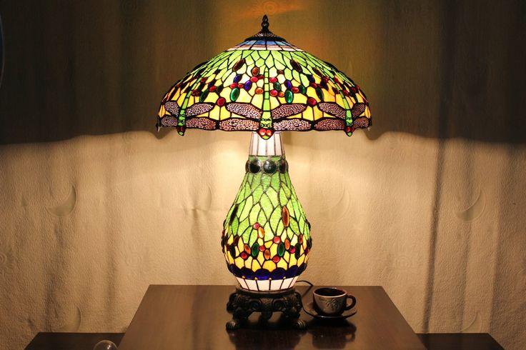 Style populaire rétro boutique verre Tiffany Libellule Lampe de table personnalisé : Amazon.fr: Cuisine & Maison