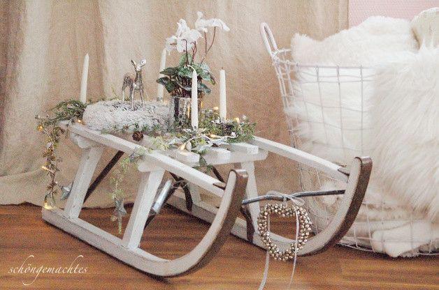 Weihnachtsdeko - Adventskranz Schlitten Shabby Chic - ein Designerstück von schoengemachtes- bei DaWanda
