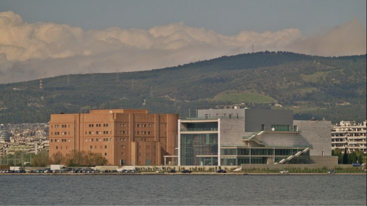Both of the concert hall buildings as seen from Kalamaria. (Walking Thessaloniki - Route 17, Depot)