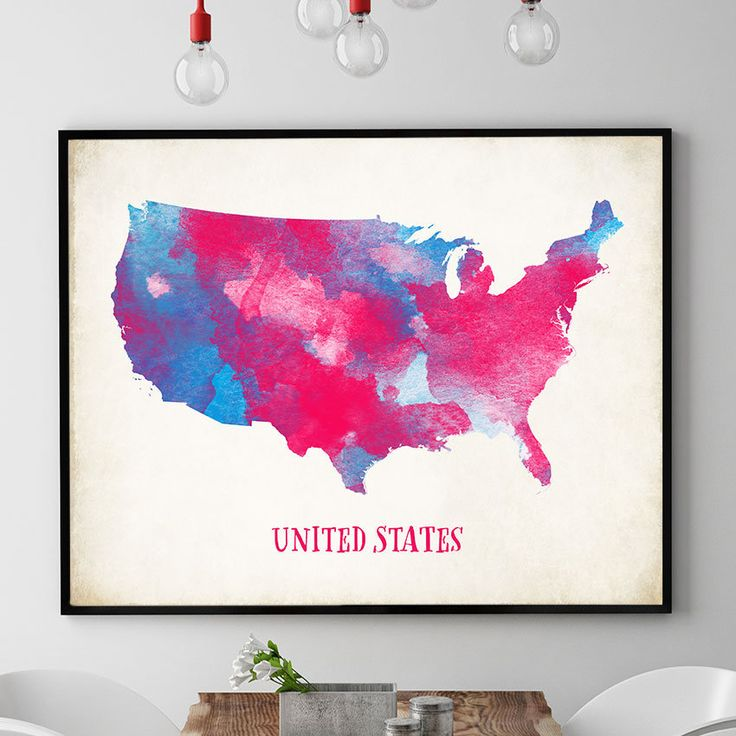 Best World Maps Images On Pinterest World Maps Map Posters - Watercolor us map