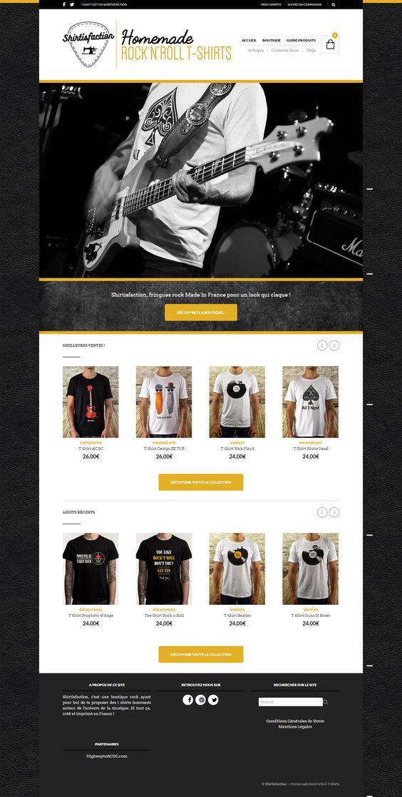 The story of Shirtisfaction, am online shop built with The Retailer theme, selling original rock 'n' roll t-shirts https://www.getbowtied.com/customer-stories-rock-n-roll-t-shirts-shirtisfaction/?utm_source=pinterest.com&utm_medium=social&utm_content=shirtisfaction&utm_campaign=customer-stories #onlineshop #webdesign #ecommerce #tshirts #websites #wordpress #design #rocktshirts