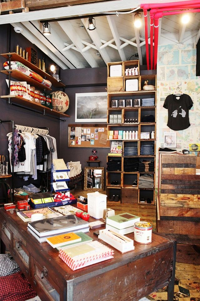 Drake Hotel General store  Like the black walls and old wood crate display, maps on wall, etc.