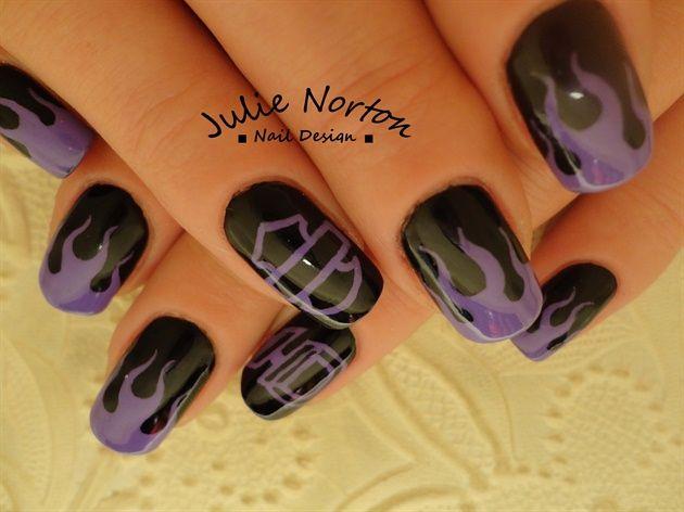 Friday the 13th Harley Davidson nails <3 by Stoneycute1 - Nail Art Gallery nailartgallery.nailsmag.com by Nails Magazine www.nailsmag.com #nailart