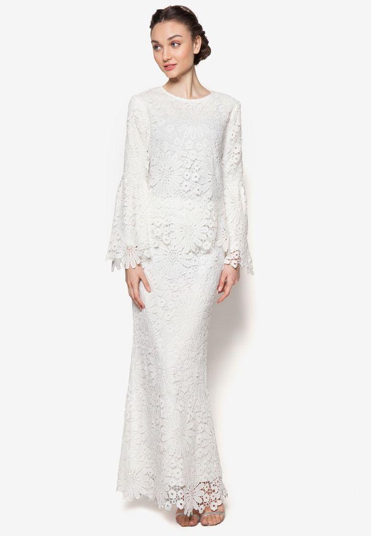 Buy Lubna Full Flower Lace Flare Sleeve Kurung Online   ZALORA Malaysia