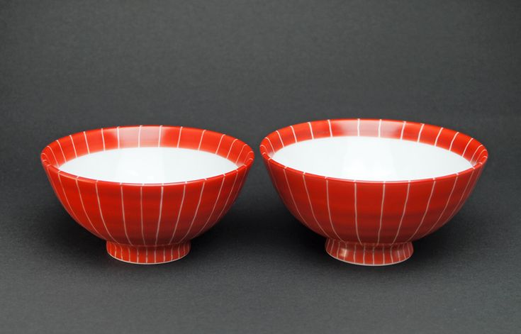 蔵珍窯 赤巻十草 ご飯茶碗 夫婦セット