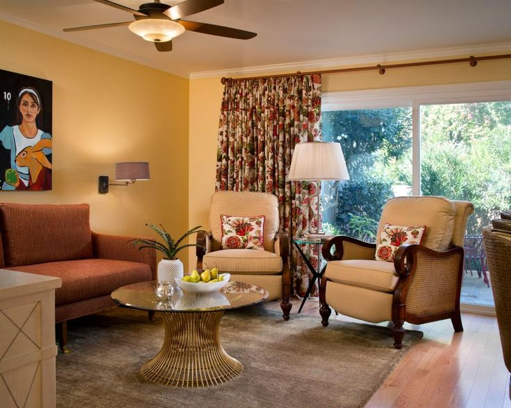 Botanical Curtains Set A Tropical Tone In The Living Room. The Large  Armchairs Are A Part 56