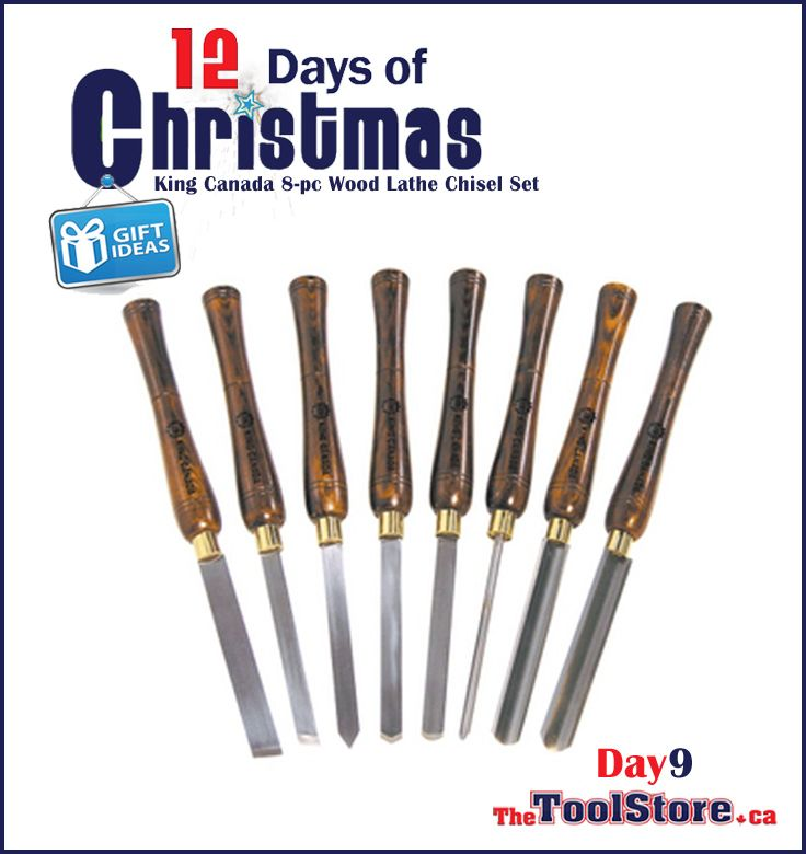 #12DaysofChristmas from @onlinetoolstore - DAY9 - King Canada, KPRO-08 8-pc Wood Lathe Chisel Set with 10-inch wood handles and comes with wood storage case.