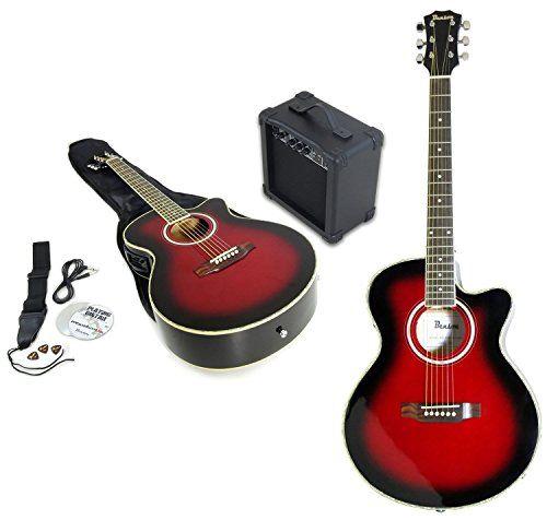 Benson Electric Electro CHERRY BURST semi acoustic guitar and 15 watt amplifier package inc. gig bag, Fender Picks