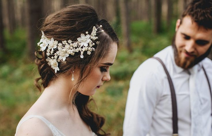 From a recent Photoshoot that has been featured on White Magazine Blog. Headpiece has been handmade with Swarovski Crystal & Pearl and features Guipure Lace flowers.