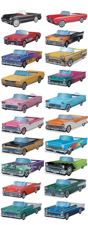 BowlingShirt.com - Cardboard Cars 20-Pack - used for awesome centerpieces at 50's sock hop