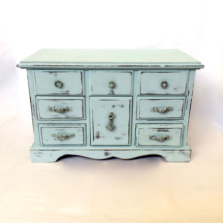 Large Jewelry Box Vintage Shabby Distressed Chic Jewelry Box Robin's Egg Blue by EllasAtticVintage on Etsy