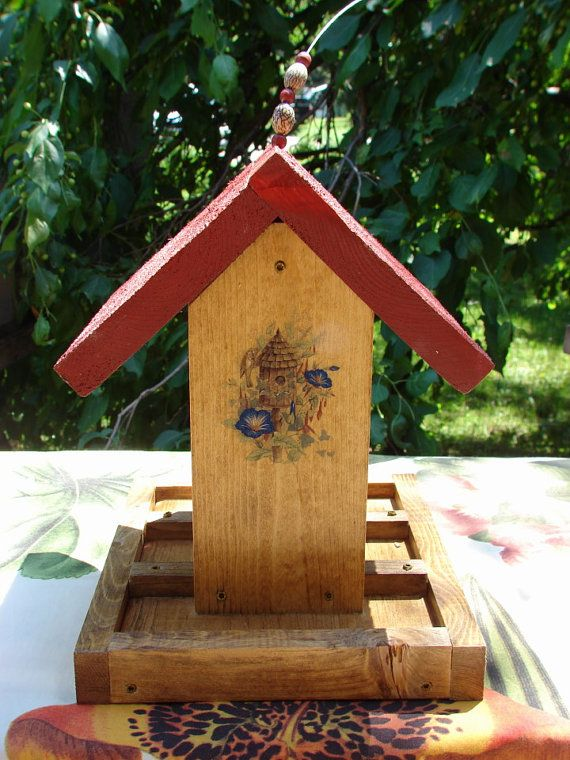 Titmouse House, Blue Morning Glories & a Red Roof  Hanging Wooden Bird Feeder