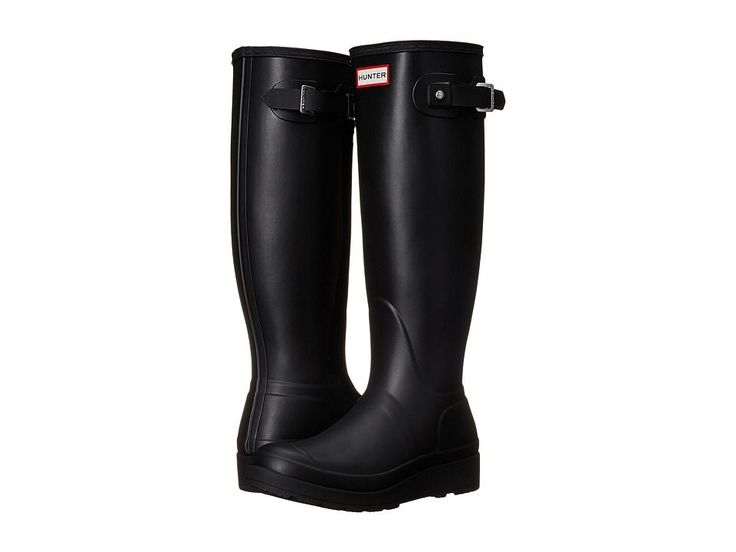 Hunter Original Tall Wedge Sole Women's Rain Boots Black #rainfootwearfashion