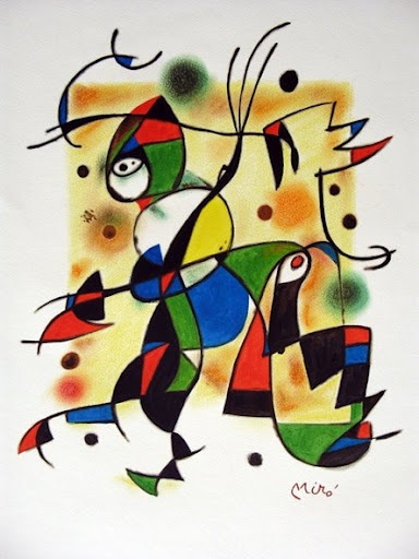 Are you going to listen in on my conversations, creep on me & observe me from a distance for the rest of my life? Just wondering... you & I both know I was talking about Miro the other day in private. - Miro painting