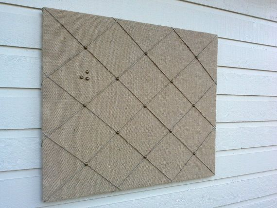 Burlap Pinboard, Large sized country Chic Burlap Memo Board, Memory, Bulletin Board, tack board, with Jute twine and upholstery tacks
