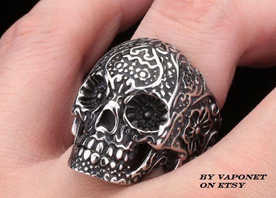 Sugar Skull Ring  Men's Ring  Biker Ring  Mens Skull by Vaponet