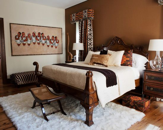 Teak African Interior And White Fur On Pinterest