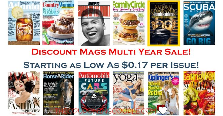 WOOHOO! You will want to see the Discount Mags Multi Year Sale! Find magazines for as little as $0.17 per issue! Great gift ideas!  Taste of Home, ESPN and so much more are included in this sale!  Click the link below to get all of the details ► http://www.thecouponingcouple.com/discount-mags-multi-year-sale-starting-at-0-17-per-issue/  #Coupons #Couponing #CouponCommunity  Visit us at http://www.thecouponingcouple.com for more great posts!