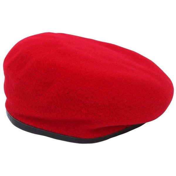 Don Women Wool Beret W/ Leather Trim ($135) ❤ liked on Polyvore featuring accessories, hats, red, red wool beret, logo hats, red wool hat, beret hat and woolen hat