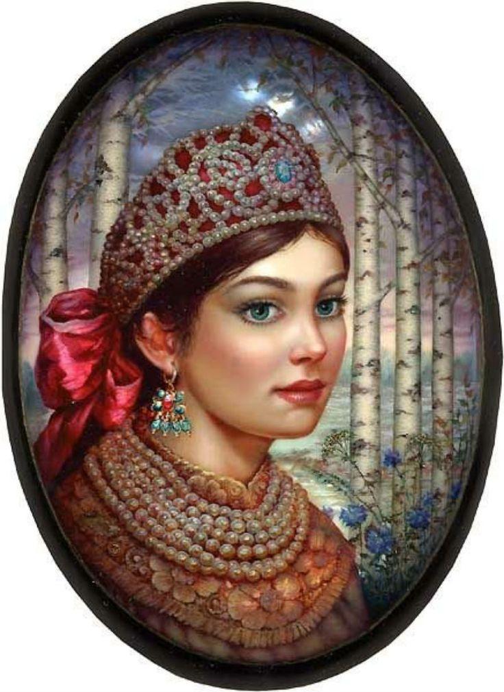 "Russian lacquer miniature from the village of Fedoskino. Russian beauty in traditional headdress ""Kokoshnik""."