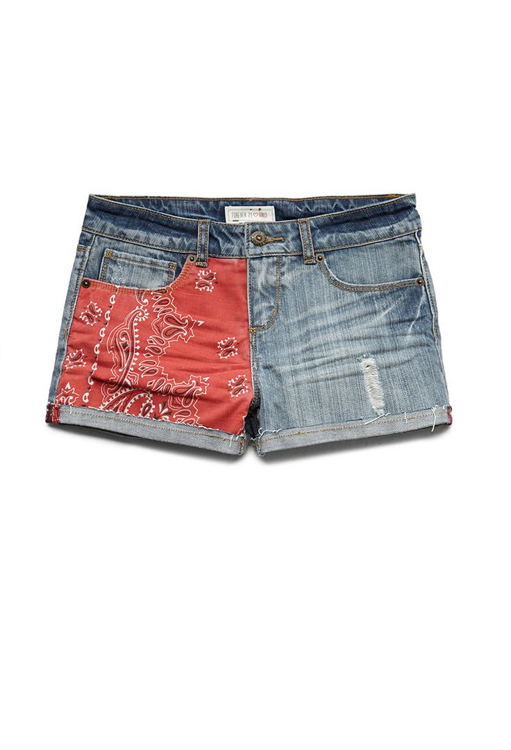 Bandana Patch Denim Shorts (Kids) | FOREVER21 girls #Denim #F21Girls #Juniors