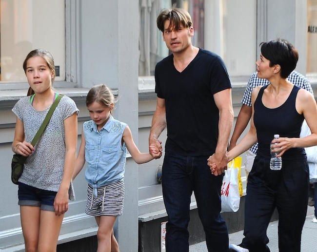 Danish actor, Nikolaj Coster-Waldau with wife Nukaka and 2 daughters...