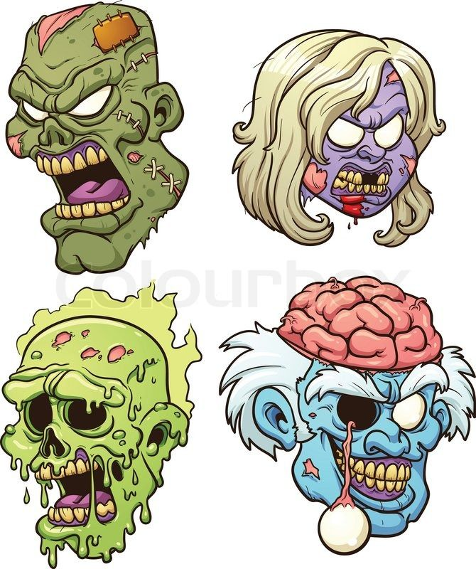 Stock vector of 'Cartoon zombie heads. Vector clip art illustration with simple gradients. Each in a separate layer.'