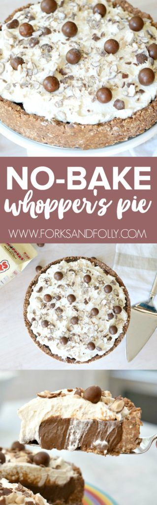 Looking for an easy no-bake dessert for your upcoming summer party or potluck?  This No-Bake Whopper's Pie will be the start of the dessert table this season!  A post from the popular #52WeeksofSweets series by Forks and Folly.